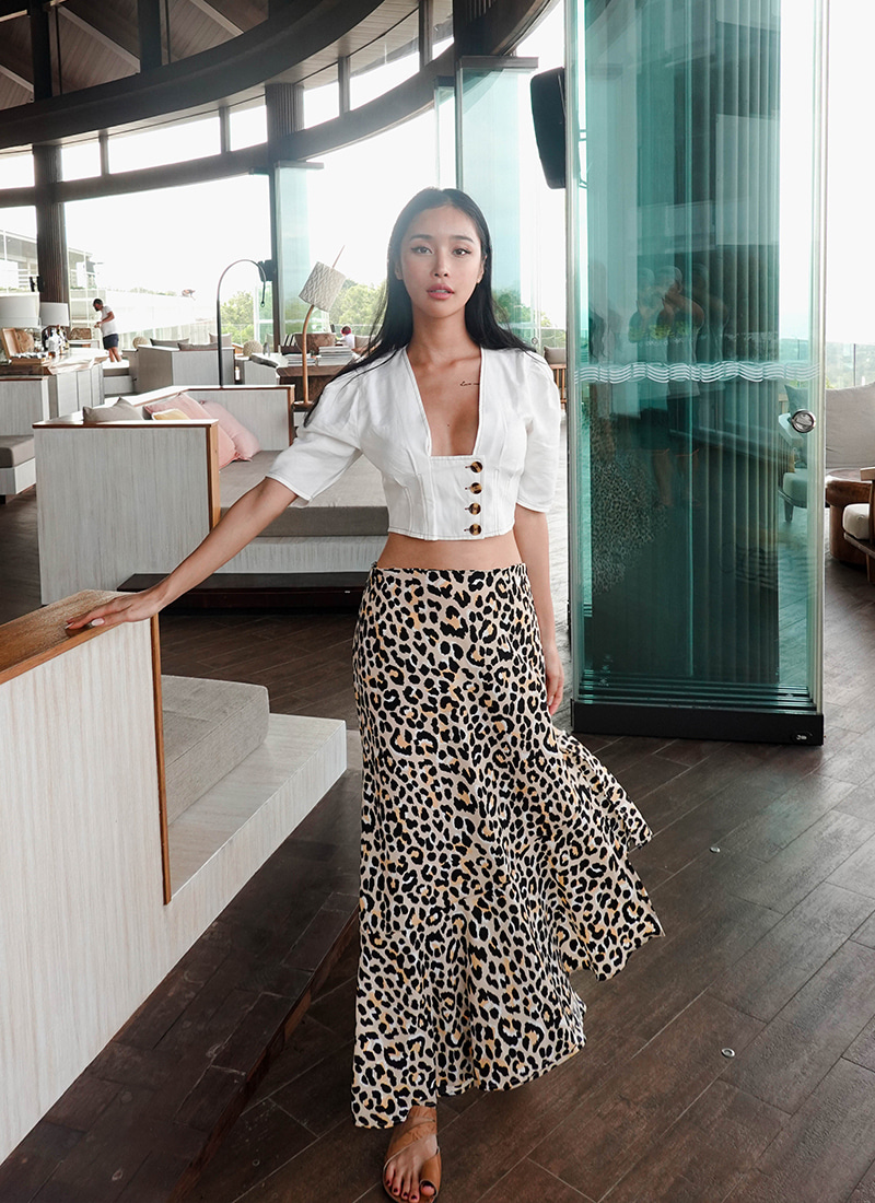 베이비 레오파드 스커트 Baby Leopard Unbalanced Cut Skirt